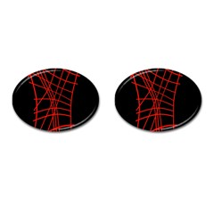 Neon red abstraction Cufflinks (Oval)