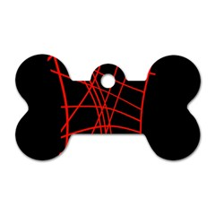 Neon red abstraction Dog Tag Bone (One Side)