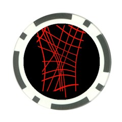 Neon Red Abstraction Poker Chip Card Guards
