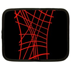 Neon red abstraction Netbook Case (Large)