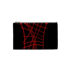 Neon red abstraction Cosmetic Bag (Small)