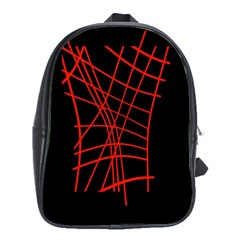 Neon red abstraction School Bags(Large)