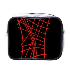 Neon red abstraction Mini Toiletries Bags