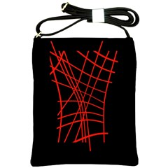 Neon red abstraction Shoulder Sling Bags