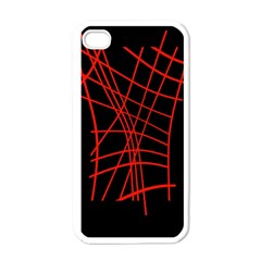 Neon red abstraction Apple iPhone 4 Case (White)