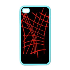 Neon red abstraction Apple iPhone 4 Case (Color)