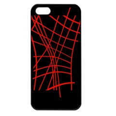 Neon red abstraction Apple iPhone 5 Seamless Case (Black)