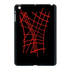 Neon red abstraction Apple iPad Mini Case (Black)