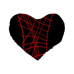 Neon red abstraction Standard 16  Premium Heart Shape Cushions