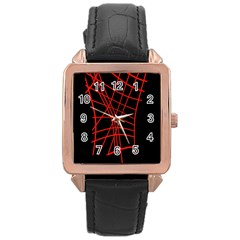Neon red abstraction Rose Gold Leather Watch