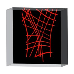 Neon red abstraction 5  x 5  Acrylic Photo Blocks