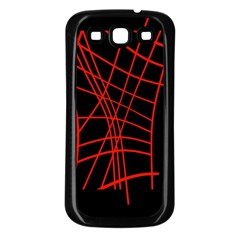 Neon red abstraction Samsung Galaxy S3 Back Case (Black)