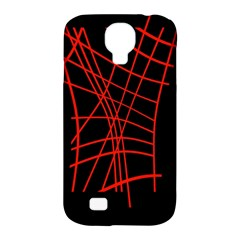 Neon red abstraction Samsung Galaxy S4 Classic Hardshell Case (PC+Silicone)