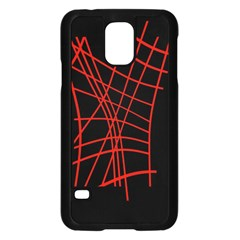 Neon red abstraction Samsung Galaxy S5 Case (Black)