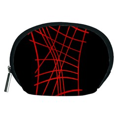 Neon red abstraction Accessory Pouches (Medium)