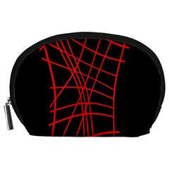 Neon red abstraction Accessory Pouches (Large)