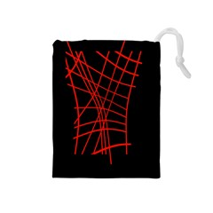 Neon red abstraction Drawstring Pouches (Medium)