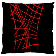 Neon red abstraction Large Flano Cushion Case (Two Sides)