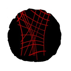 Neon red abstraction Standard 15  Premium Flano Round Cushions