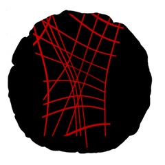 Neon red abstraction Large 18  Premium Flano Round Cushions