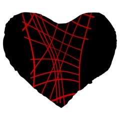 Neon red abstraction Large 19  Premium Flano Heart Shape Cushions