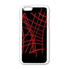 Neon red abstraction Apple iPhone 6/6S White Enamel Case