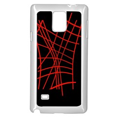Neon red abstraction Samsung Galaxy Note 4 Case (White)