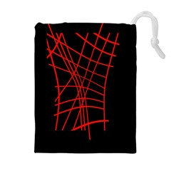 Neon red abstraction Drawstring Pouches (Extra Large)