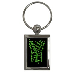 Green neon abstraction Key Chains (Rectangle)