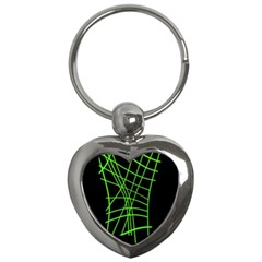 Green neon abstraction Key Chains (Heart)