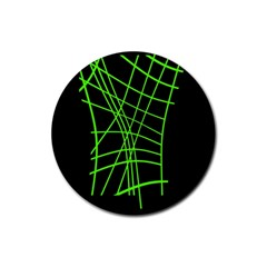 Green neon abstraction Rubber Round Coaster (4 pack)