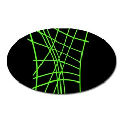 Green neon abstraction Oval Magnet