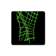 Green neon abstraction Square Magnet