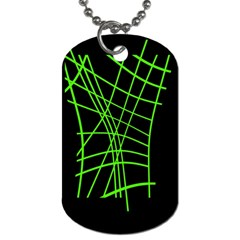 Green neon abstraction Dog Tag (Two Sides)