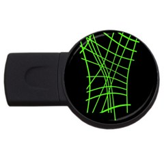 Green neon abstraction USB Flash Drive Round (2 GB)