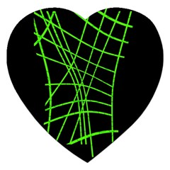 Green neon abstraction Jigsaw Puzzle (Heart)