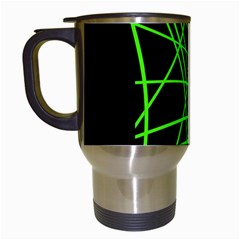 Green neon abstraction Travel Mugs (White)