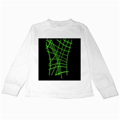 Green neon abstraction Kids Long Sleeve T-Shirts