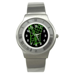 Green neon abstraction Stainless Steel Watch