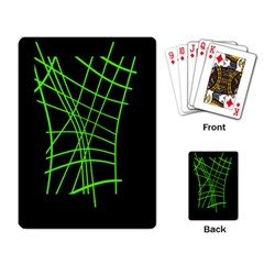 Green neon abstraction Playing Card
