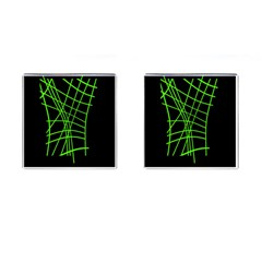 Green neon abstraction Cufflinks (Square)
