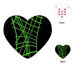 Green neon abstraction Playing Cards (Heart)