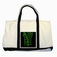 Green neon abstraction Two Tone Tote Bag