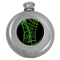 Green neon abstraction Round Hip Flask (5 oz)