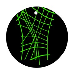 Green neon abstraction Round Ornament (Two Sides)