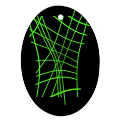 Green neon abstraction Oval Ornament (Two Sides)