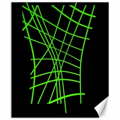 Green neon abstraction Canvas 8  x 10