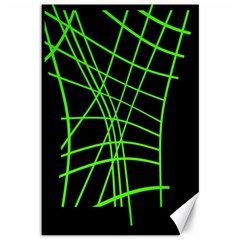 Green neon abstraction Canvas 12  x 18