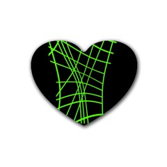 Green neon abstraction Heart Coaster (4 pack)