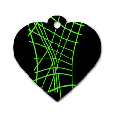 Green neon abstraction Dog Tag Heart (One Side)